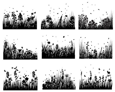Set of vector grass silhouettes backgrounds for design use Stock Vector - 4679571