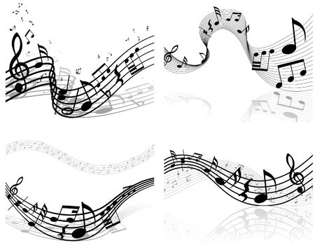 Set of four vector musical notes staff Stock Vector - 4679555