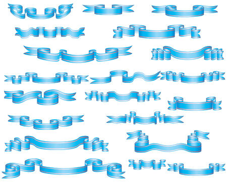 Set of different blue vector ribbons for design use Stock Vector - 4679560