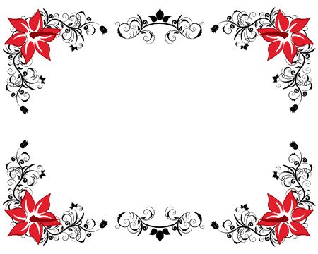 Abstract floral vector frame backgrounds  in Victorian style Illustration
