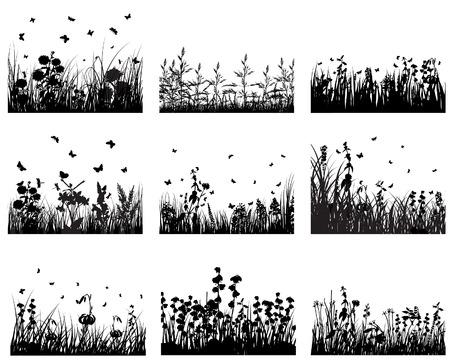 silueta hoja: Conjunto de vectores de siluetas hierba antecedentes para el dise�o uso Vectores