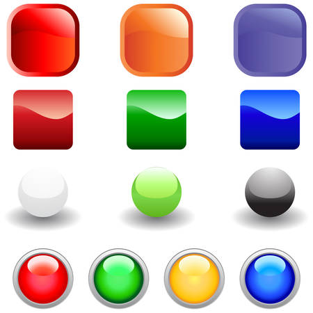 Set of glossy vector internet buttons for web design use Stock Vector - 4763980