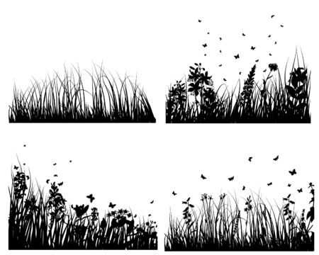 Set of vector grass silhouettes backgrounds for design use Stock Vector - 4774680