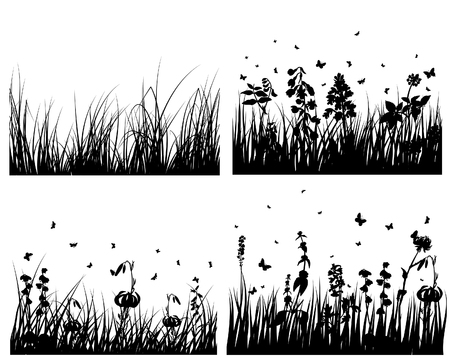 Set of vector grass silhouettes backgrounds for design use Stock Vector - 4774675