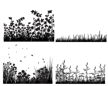 Set of vector grass silhouettes backgrounds for design use Vector