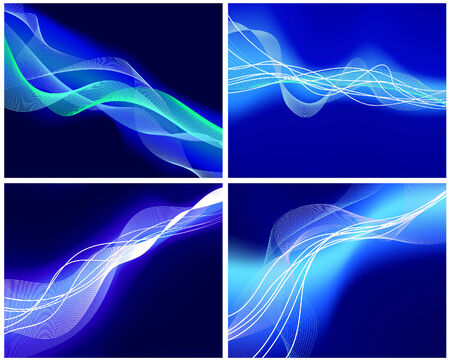 Abstract water vector background set  with neon glowing  Vector