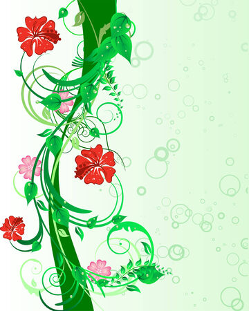 swirl border: Green floral vector background for design use