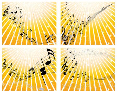 Conjunto de cuatro notas musicales del personal de vectores Foto de archivo - 4813530