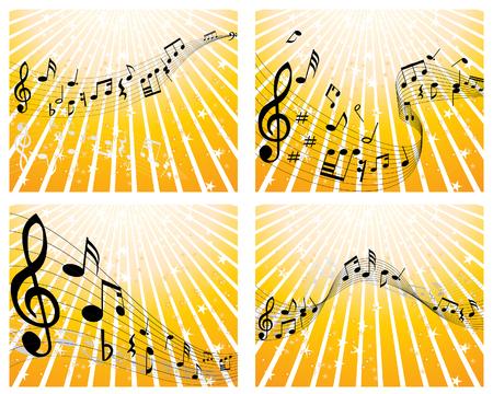 Set di quattro vettori note musicali del personale
