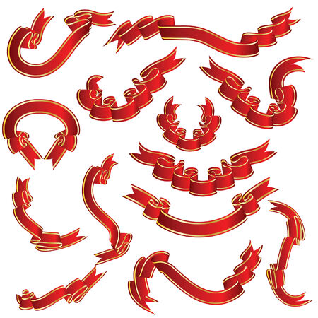 Red ribbons set. Collection of vector temlates. Stock Vector - 4813528