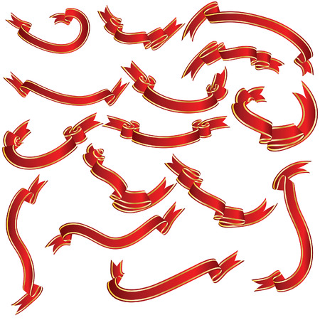 Red ribbons set. Collection of vector temlates. Vector