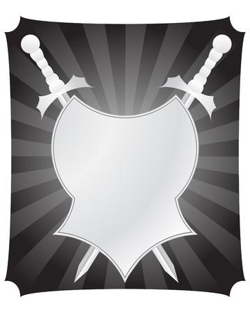 knighthood: Medieval vtctor shield and swords for design use Illustration