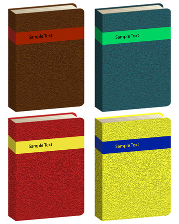 address book: Set of different colors vector book icons