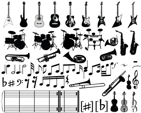 Big collection of musical elements for design use Vector