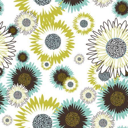 Flower seamless vector background for design use Vector