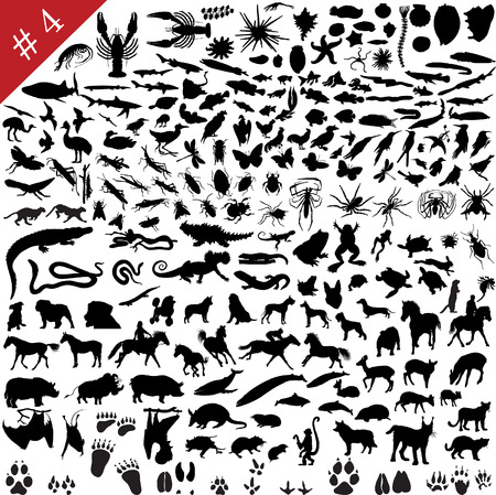 # 4 set of  different animals, birds, insects and fishes  vector silhouettes  Vector
