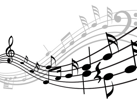 quavers: Musical notes stuff vector background for use in design