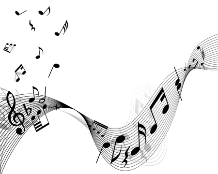 wind instrument: Musical notes stuff vector background for use in design
