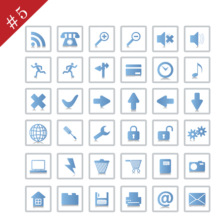 Collection of different icons for using in web design. Set #5. Vector