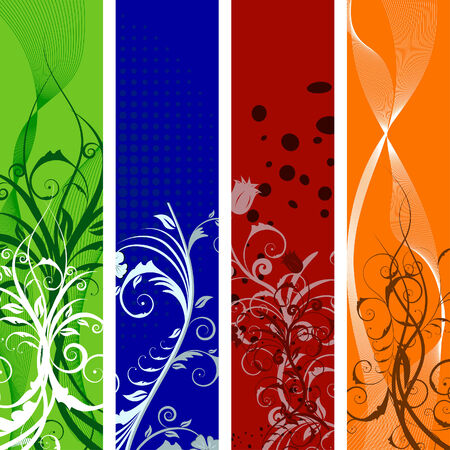 leaves vector: Set of different colors vector floral banners Illustration