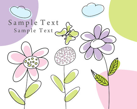 vector flowers: Hand drawn infant card for design use Illustration