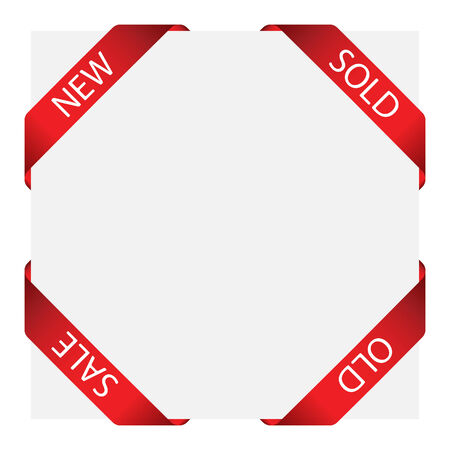 Set of vector ribbon labels for design use