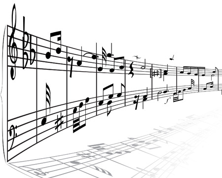 minims: Musical notes stuff vector background for use in design
