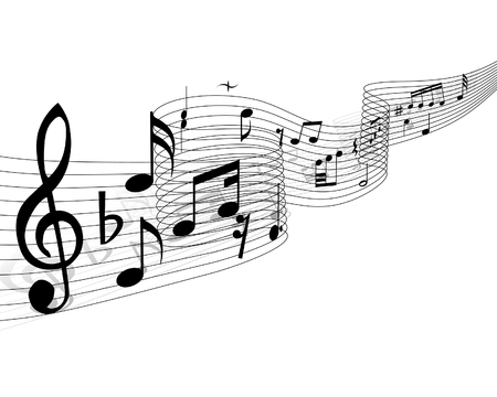 stuff: Musical notes stuff vector background for use in design