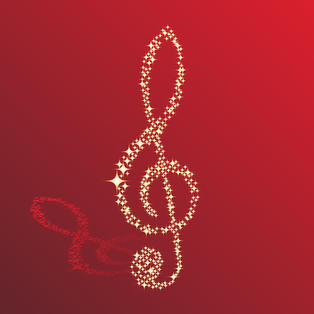 musical instrument parts: Musical notes clef vector background for use in design