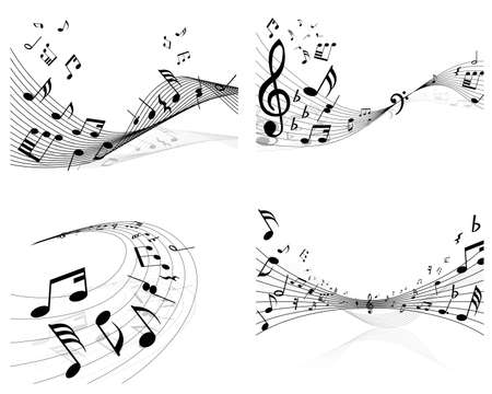 Set of vector musical notes background for design use Vector