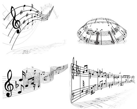 Set of vector musical notes background for design use Stock Vector - 4949665