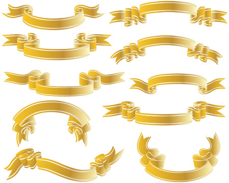 Golden vector ribbons set. Collection of vector temlates Vector