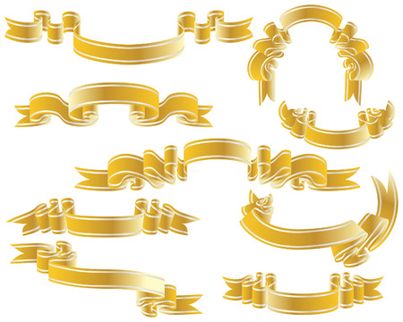 Golden vector ribbons set. Collection of vector temlates Stock Vector - 4949658
