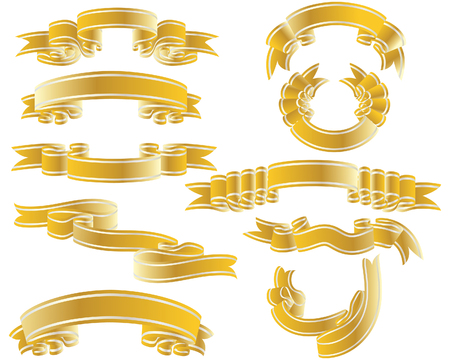 Golden vector ribbons set. Collection of vector temlates Illustration