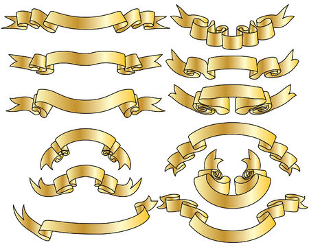 Golden vector ribbons set. Collection of vector temlates Stock Vector - 4949656
