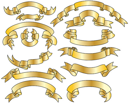 Golden vector ribbons set. Collection of vector temlates Stock Vector - 4949653