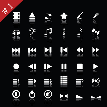 Collection of different icons for using in web design. Set #1. Vector