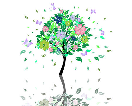 Beautiful summer tree with blossom flowers. Vector illustration. Vector