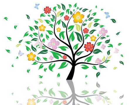 Hermoso árbol de verano con la flor de las flores. Ilustración vectorial.