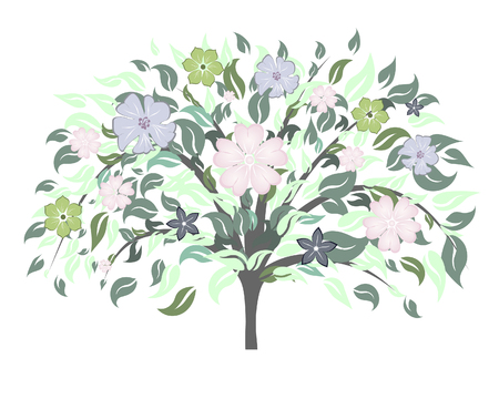 Beautiful summer tree with blossom flowers. Vector illustration. Stock Vector - 4983229