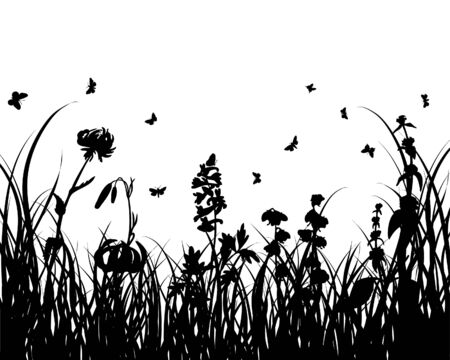 Vector grass silhouettes background for design use Stock Vector - 5021457