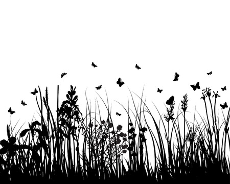 Vector grass silhouettes background for design use Stock Vector - 5021459