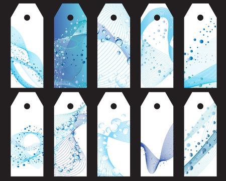 Set of ten vector water theme bookmark labels Vector