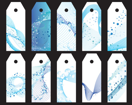 water theme: Set of ten vector water theme bookmark labels