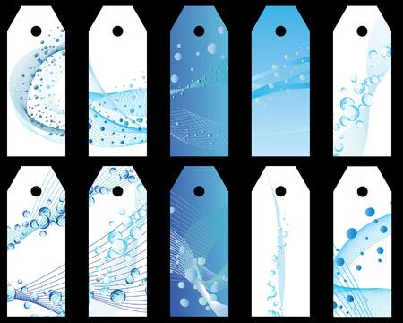 oceans: Set of ten vector water theme bookmark labels
