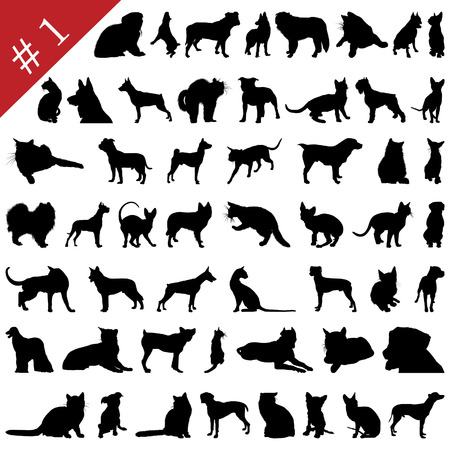dog run: Set # 1 of different vector pets silhouettes for design use