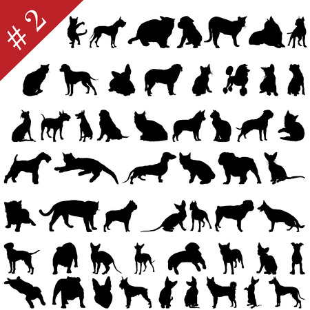 pointer dog: Set # 2 of different vector pets silhouettes for design use Illustration