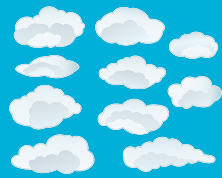 cloudy cartoon: Set of vector clouds background for design use