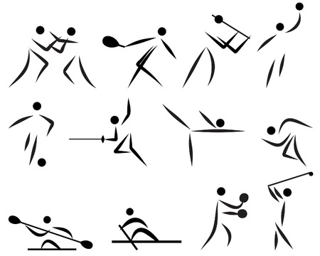 silhouttes: Vector illustration summer games sport icons set