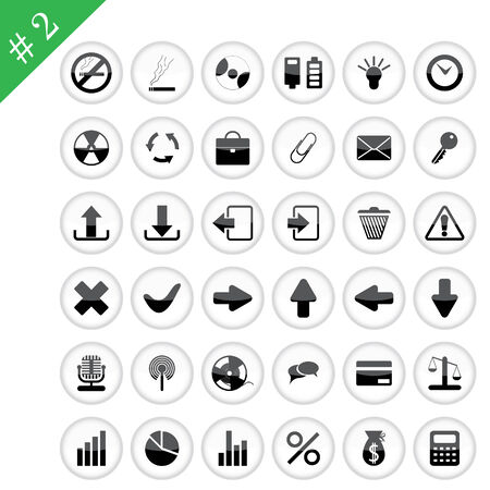 New collection of different icons for using in web design. Set #2. Vector